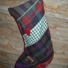 plaid flannel Christmas stocking hand sewn patchwork vintage look holiday handstitched