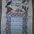 vintage pure linen 1970 calendar towel New Zealand Haere-Mai native birds mint condition