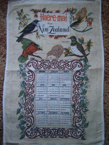 vintage pure linen 1970 calendar towel New Zealand Haere-Mai native birds mint condition