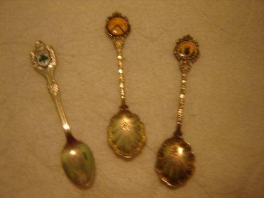 3 silverplated collectible souvenir spoons Ireland Frae Bonnie Scotland Stratford-Upon-Avon