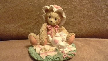"""Cherished Teddies Marie """"Friendship is a Special Treat"""" bear with teapot figurine"""