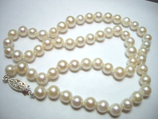 Classy White Pearl Necklace 18 inch - Free Shipping