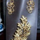 Rich Gold Tone Earrings and Brooch