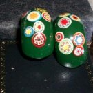 Pr. Heavy Plastic Green clip on Earrings, Handpainted flowers