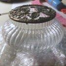 Vanity Jar with Decorated Pewter Lid