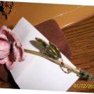 Weiss Signed Rose Brooch w/ Rhinestone Leaves.