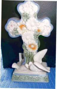 Porcelain Standing Cross with 2 White Doves at Base