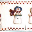 """Trio of 2.5"""" Snowmen Brooches"""