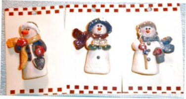 "Trio of 2.5"" Snowmen Brooches"