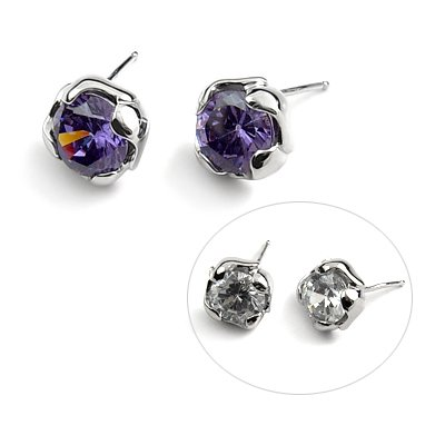 24891-Sterling silver ear pins with Rhinestones