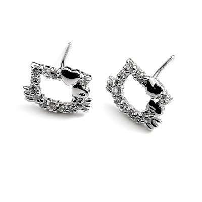 24892-Sterling silver ear pins with Rhinestones