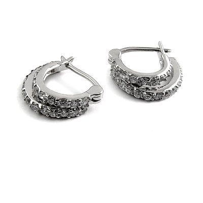 24896-Sterling silver ear pins with Rhinestones
