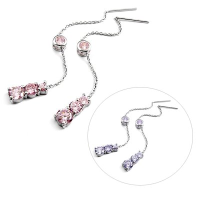 24897-Sterling silver ear pins with Rhinestones