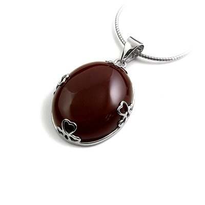 24916-Sterling silver pendant with agate inlay