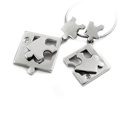 24917-Sterling silver puzzle pendant with gems