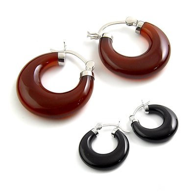 24439-sterling silver platium plated with agate earring
