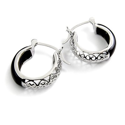 24440-sterling silver platium plated with agate earring