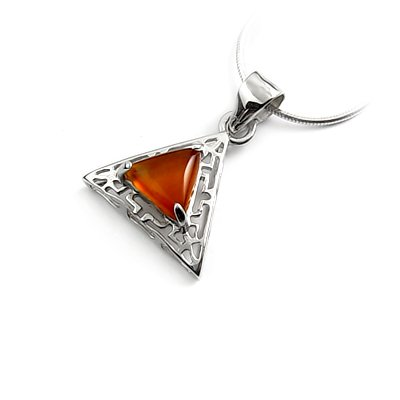 24449-sterling silver platium plated with agate pendant