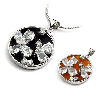 24452-sterling silver platium plated ,agate, rhinestoe earring