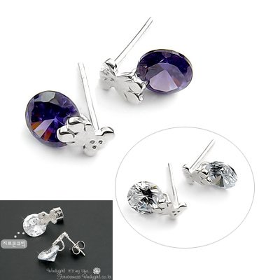 24504-sterling silver platium plated with rhinestoe earring