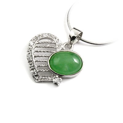 24640-Sterling silver,jade,stone pendant