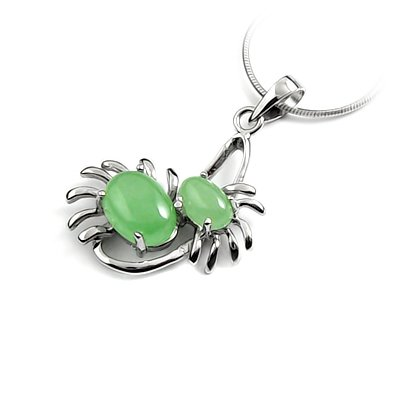 24641-Sterling silver with jade  pendant