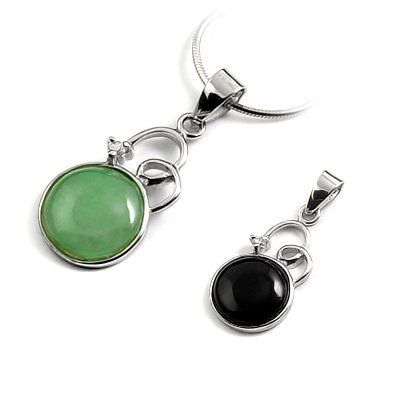 24674-Sterling silver with jade pendant