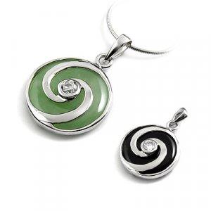 24675-Sterling silver,jade, rhinestoe pendant