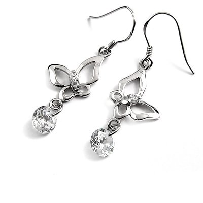 24692- sterling silver platium plated with rhinestoe earring