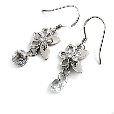 24693-sterling silver platium plated with rhinestoe earring