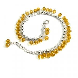 24697- sterling silver with crystal necklace