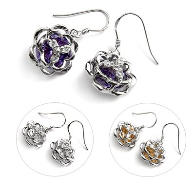 24726- Sterling silver with rhinestoe earring
