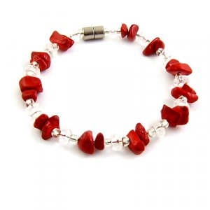 25262-Coral with crystal bracelet