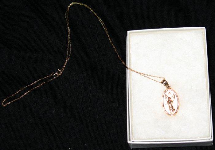 Elegant 14kt Gold Guardian Angel Necklace