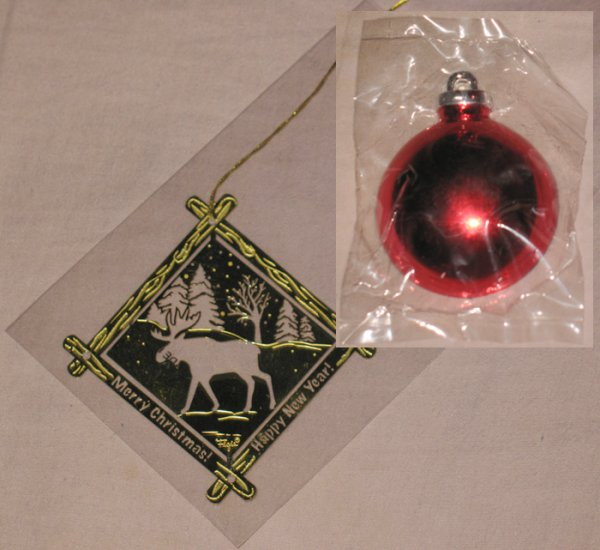 Golden Christmas Ornament and Red Ball magnet