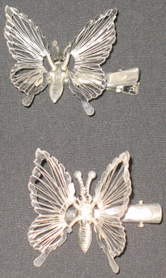 Silver Butterfly Barrettes/Clip Set