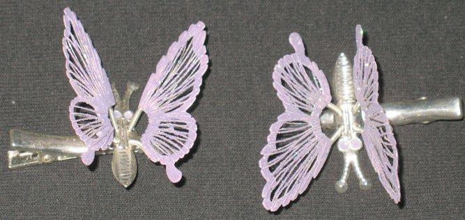 Purple Glittery Butterfly Barrettes/Clip Set
