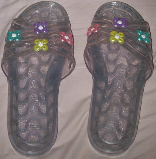 Colorful flower clear sandals size US 9