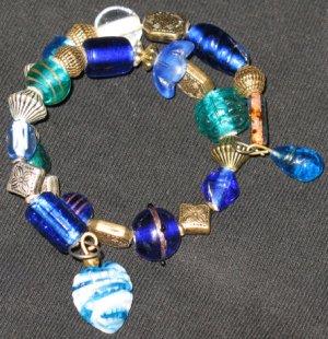 Blue seashell heart mermaid treasure--a memory wire bracelet