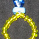 Oversized blue diamond beaded ring w/free PUSH bracelet