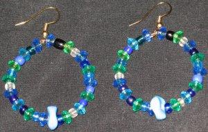 Sea Blue Age hoop dangling earrings