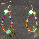 Colorful mermaid tail dangling hoop earrings