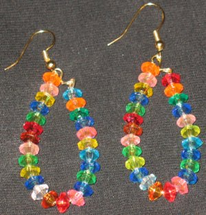 Hawaiian Rainbow fruitloop dangling hoop earrings