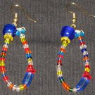 Rainbow Blue frosty ice dangling hoop earrings
