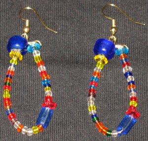 Rainbow Blue frosty ice dangling hoop earrings