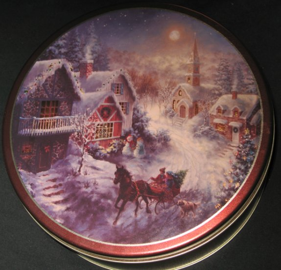 Currier & Ives tin can