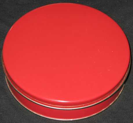 Small red tin can