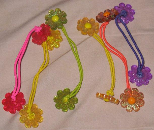 6 flower ponytails-pigtails