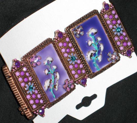 Bejeweled Purple Flowery Oriental Garden Bracelet