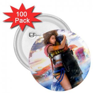 Yuna and Tidus hug--ffx/ff10-2.25 inch 100 Buttons